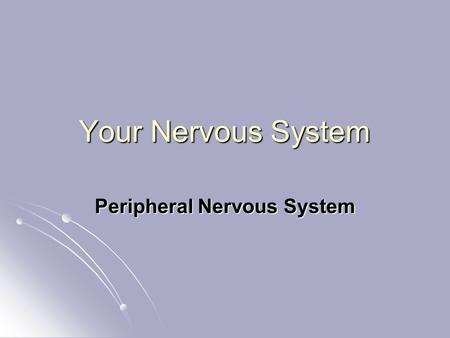 Your Nervous System Peripheral Nervous System. Explain which consists of is divided into that make up which is divided into Section 35-3 The Nervous System.