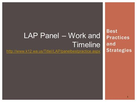 Best Practices and Strategies 1 LAP Panel – Work and Timeline