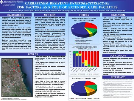CARBAPENEM RESISTANT ENTEROBACTERIACEAE: RISK FACTORS AND ROLE OF EXTENDED CARE FACILITIES A. Makarem, MD; P. Alvarez, MD; T. Chou, MPH, CIC; M. Kulkarni,