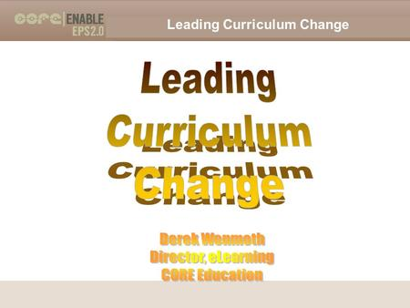 "Leading Curriculum Change 2009 Derek Wenmoth. Leading Curriculum Change 2009 Derek Wenmoth A case for change… ""schools frozen in time…"" ""a yawning chasm."