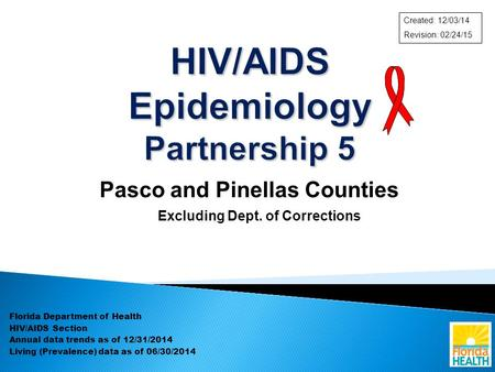 Pasco and Pinellas Counties Excluding Dept. of Corrections Florida Department of Health HIV/AIDS Section Annual data trends as of 12/31/2014 Living (Prevalence)