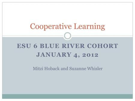 ESU 6 BLUE RIVER COHORT JANUARY 4, 2012 Cooperative Learning Mitzi Hoback and Suzanne Whisler.