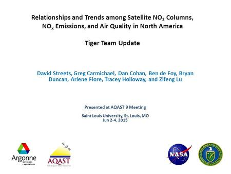 Relationships and Trends among Satellite NO 2 Columns, NO x Emissions, and Air Quality in North America Tiger Team Update David Streets, Greg Carmichael,