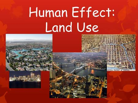 Human Effect: Land Use. Urbanization Physical growth of urban areas as result of rural migration Currently more people living in urban areas than rural.