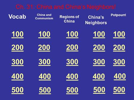 100 200 300 400 500 Vocab Ch. 31: China and China's Neighbors! China and Communism 100 200 300 400 500 100 200 300 400 500 Regions of China China's Neighbors.