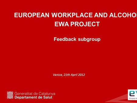 EUROPEAN WORKPLACE AND ALCOHOL EWA PROJECT Feedback subgroup Venice, 21th April 2012.