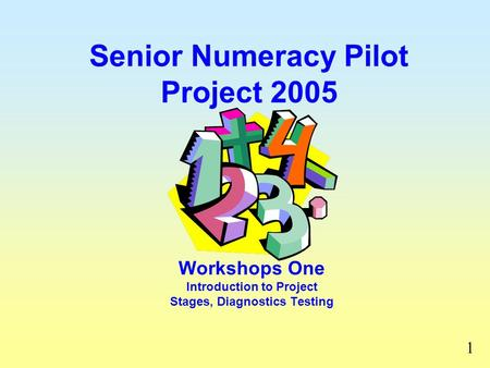 Senior Numeracy Pilot Project 2005 Workshops One Introduction to Project Stages, Diagnostics Testing 1.