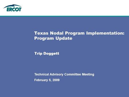 February 5, 2009 Technical Advisory Committee Meeting Texas Nodal Program Implementation: Program Update Trip Doggett.
