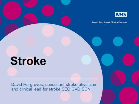 Stroke David Hargroves, consultant stroke physician and clinical lead for stroke SEC CVD SCN.