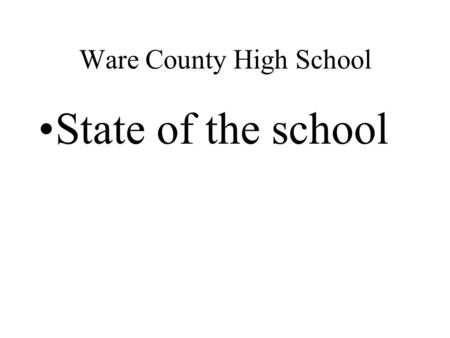 Ware County High School State of the school. 12 th grade 448 students entered the 9 th grade in 2003/2004 90 students have left the county or state 243.