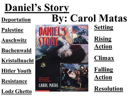 Daniel's Story By: Carol Matas Setting Rising Action Climax