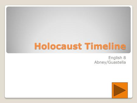 Holocaust Timeline English 8 Abney/Guastella. 1933 Hitler appointed Chancellor 1 st concentration camp established One day boycott of Jewish business.