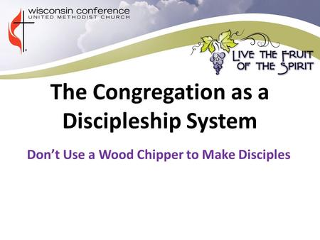 The Congregation as a Discipleship System Don't Use a Wood Chipper to Make Disciples.