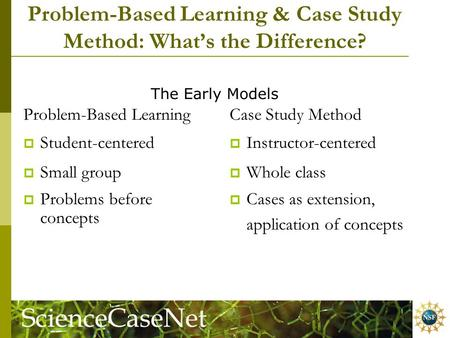 Problem-Based Learning & Case Study Method: What's the Difference? Problem-Based Learning  Student-centered  Small group  Problems before concepts Case.