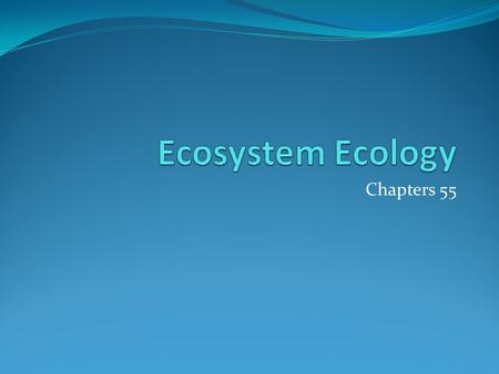 Chapters 55. Concept 5: Ecosystems – Analyzing productivity, energy flow, and chemical cycling. Ecosystems (Ch 55) How energy flows though the ecosystem.