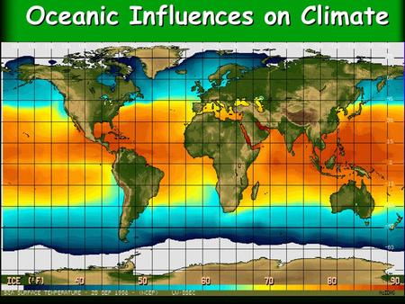 Oceanic Influences on Climate. Ocean currents redistribute heat Large scale currents are called gyres.
