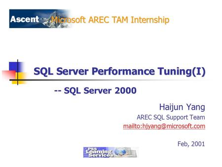 Microsoft AREC TAM Internship SQL Server Performance Tuning(I) Haijun Yang AREC SQL Support Team Feb, 2001 -- SQL Server 2000.