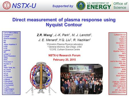 Direct measurement of plasma response using Nyquist Contour Z.R. Wang 1, J.-K. Park 1, M. J. Lanctot 2, J. E. Menard 1,Y.Q. Liu 3, R. Nazikian 1 1 Princeton.