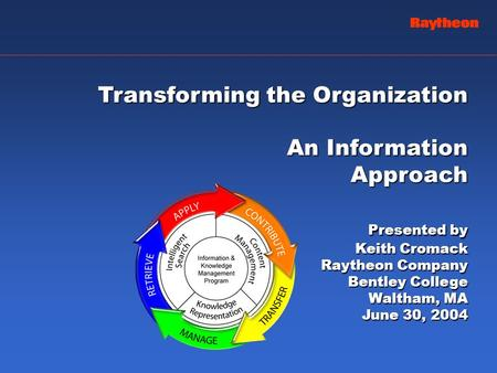 Transforming the Organization An Information Approach Presented by Keith Cromack Raytheon Company Bentley College Waltham, MA June 30, 2004.