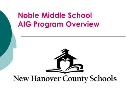 Noble Middle School AIG Program Overview. Standard 1: Student Identification This standard outlines how our district screens, refers, and identifies students.