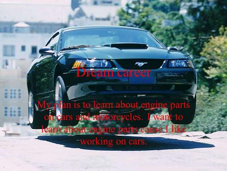 Dream career My plan is to learn about engine parts on cars and motorcycles. I want to learn about engine parts cause I like working on cars.