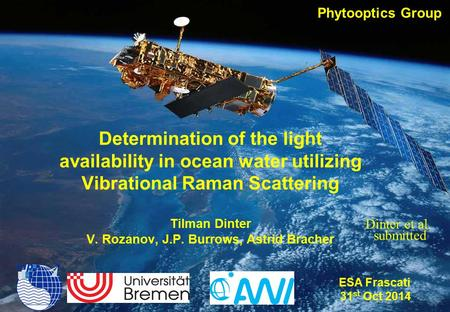 ESA Frascati 31 Oct 1 Determination of the light availability in ocean water utilizing Vibrational Raman Scattering.