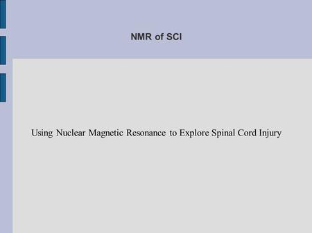 NMR of SCI Using Nuclear Magnetic Resonance to Explore Spinal Cord Injury.