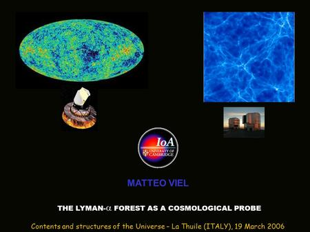 MATTEO VIEL THE LYMAN-  FOREST AS A COSMOLOGICAL PROBE Contents and structures of the Universe – La Thuile (ITALY), 19 March 2006.