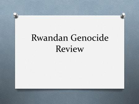 Rwandan Genocide Review. Description 1990/91 The Rwandan army begins to train and arm civilian militias known as interahamwe (Those who stand together)