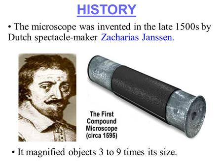 Section 7.1 Summary – pages 171-174 The microscope was invented in the late 1500s by Dutch spectacle-maker Zacharias Janssen. HISTORY It magnified objects.