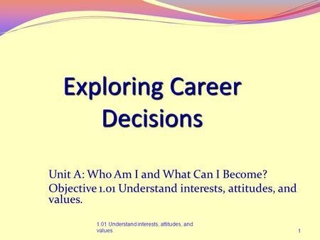 Exploring Career Decisions 1.01 Understand interests, attitudes, and values.1 Unit A: Who Am I and What Can I Become? Objective 1.01 Understand interests,