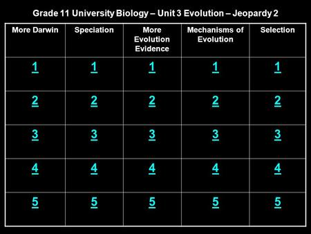 Grade 11 University Biology – Unit 3 Evolution – Jeopardy 2 More DarwinSpeciationMore Evolution Evidence Mechanisms of Evolution Selection 11111 22222.