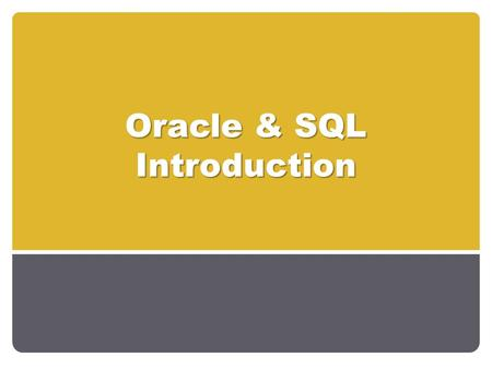 Oracle & SQL Introduction. Database Concepts Revision DB? DBMS? DB Application? Application Programs? DBS? Examples of DBS? Examples of DBMS? 2Oracle.