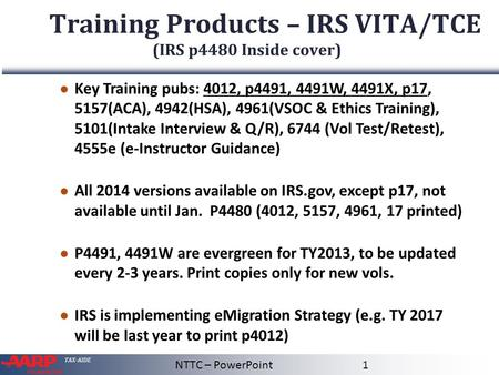 Training Products – IRS VITA/TCE (IRS p4480 Inside cover)