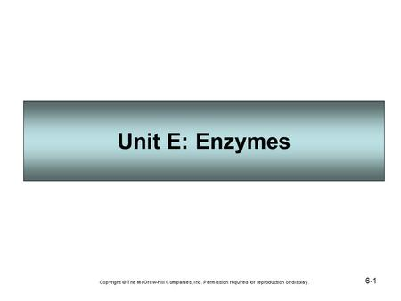 6-1 Unit E: Enzymes. 6-2 An enzyme is a protein molecule that functions as an organic catalyst to speed a chemical reaction. An enzyme brings together.
