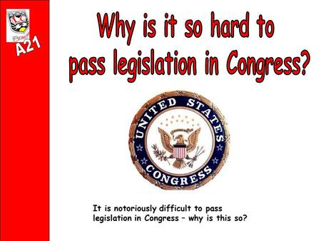 It is notoriously difficult to pass legislation in Congress – why is this so?