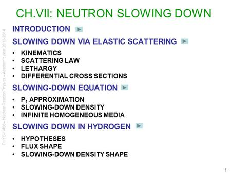 PHYS-H406 – Nuclear Reactor Physics – Academic year 2013-2014 1 CH.VII: NEUTRON SLOWING DOWN INTRODUCTION SLOWING DOWN VIA ELASTIC SCATTERING KINEMATICS.