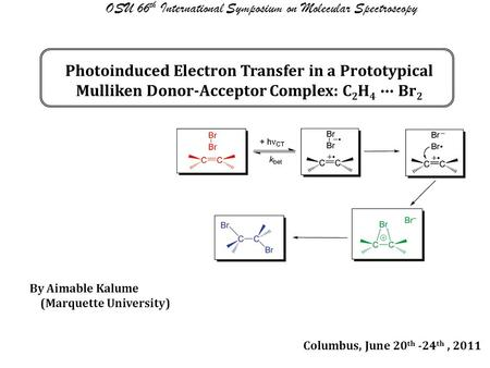 Photoinduced Electron Transfer in a Prototypical Mulliken Donor-Acceptor Complex: C 2 H 4 ∙∙∙ Br 2 OSU 66 th International Symposium on Molecular Spectroscopy.