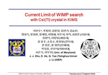 Iwha Womans University 2005/04/22 Hyunsu Lee & Jungwon Kwak Current Limit of WIMP search with CsI(Tl) crystal in KIMS 이현수 *, 곽정원, 김상열, 김선기, 김승천,