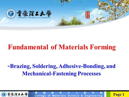 Fundamental of Materials Forming