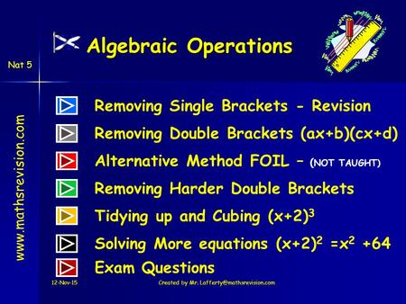 Www.mathsrevision.com Nat 5 Algebraic Operations Removing Single Brackets - Revision Removing Double Brackets (ax+b)(cx+d) Alternative Method FOIL – (