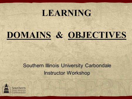 LEARNING DOMAINS & OBJECTIVES Southern Illinois University Carbondale Instructor Workshop.