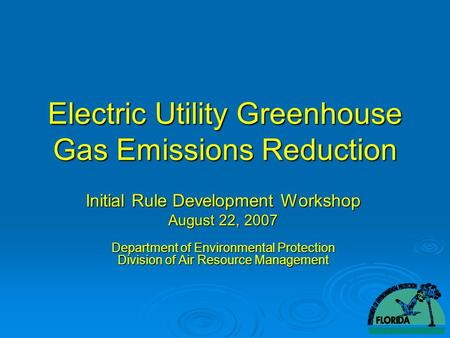 Electric Utility Greenhouse Gas Emissions Reduction Initial Rule Development Workshop August 22, 2007 Department of Environmental Protection Division of.