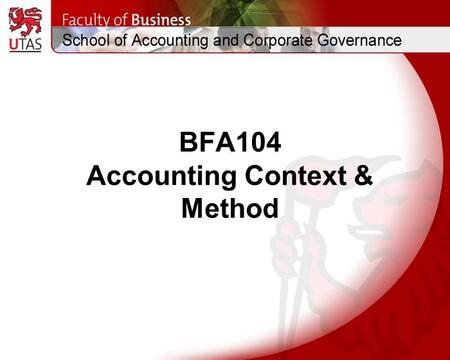 BFA104 Accounting Context & Method. Topic 2 The Accounting Cycle (Two-column journal <strong>and</strong> <strong>ledger</strong> accounts: Debit <strong>and</strong> Credit reasoning, closing <strong>and</strong> <strong>balancing</strong>.