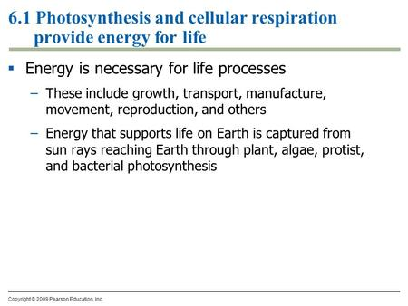 6.1 Photosynthesis and cellular respiration provide energy for life  Energy is necessary for life processes –These include growth, transport, manufacture,