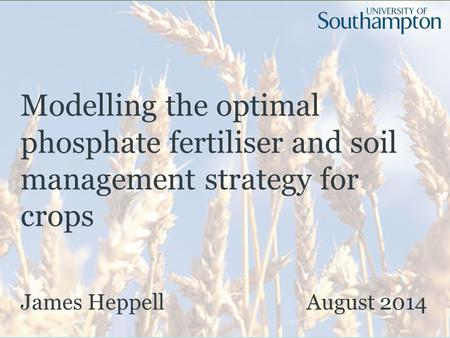 Modelling the optimal phosphate fertiliser and soil management strategy for crops James Heppell August 2014.