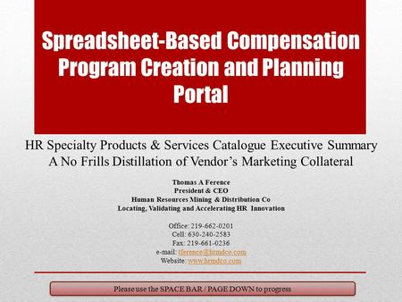 Spreadsheet-Based Compensation Program Creation and Planning Portal HR Specialty Products & Services Catalogue Executive Summary A No Frills Distillation.