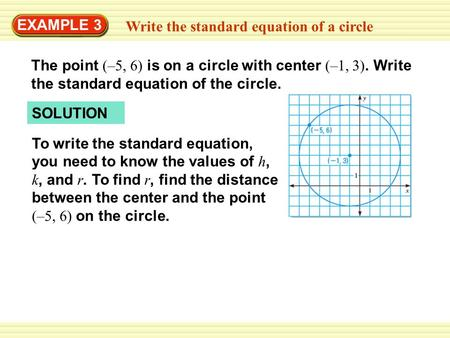EXAMPLE 3 Write the standard equation of a circle The point (–5, 6) is on a circle with center (–1, 3). Write the standard equation of the circle. SOLUTION.