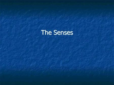The Senses. Introduction Sensory receptors detect environmental changes and trigger nerve impulses that travel on sensory pathways. The body reacts with.