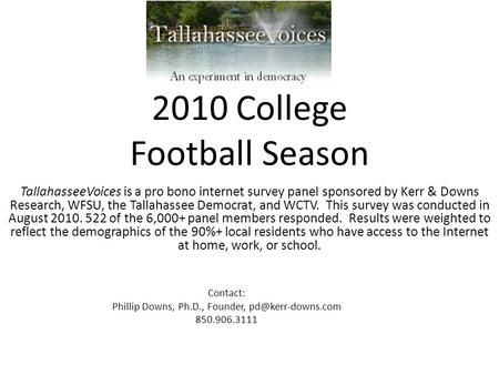2010 College Football Season TallahasseeVoices is a pro bono internet survey panel sponsored by Kerr & Downs Research, WFSU, the Tallahassee Democrat,